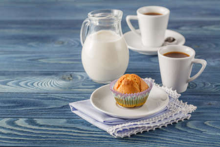 tabel: tasty muffin with chocolate on kitchen tabel Stock Photo