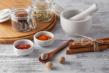 Mortar and hot spices on wooden table