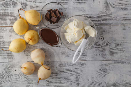 gourmet pear with chocolate and almonds