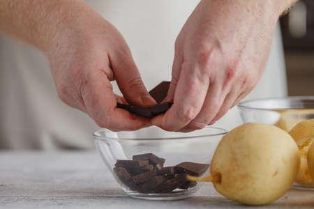 hands Making Chocolate Cream.