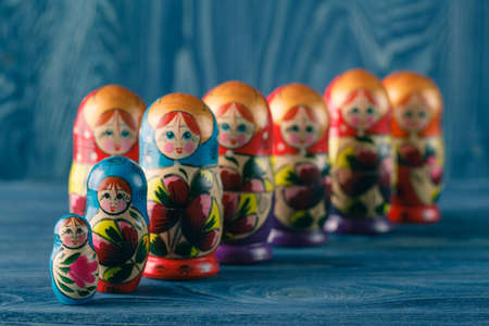 russian nesting dolls: Close View Of The Colorful Matryoshka, The Traditional Russian Nesting Dolls