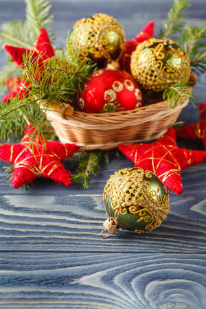 hazelnuts: Christmas wooden background with ornaments Stock Photo