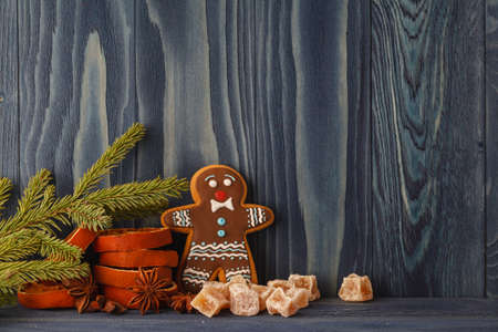 gingerbread cookie: Christmas Decorations with Gingerbread cookie Stock Photo