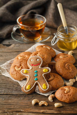 Christmas Holiday Background.Gingerbread Man Stock Photo
