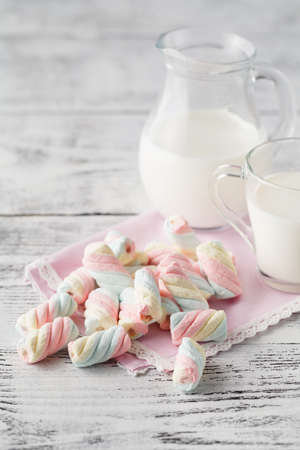 serv: Closeup of american twisted marshmallow with milk Stock Photo