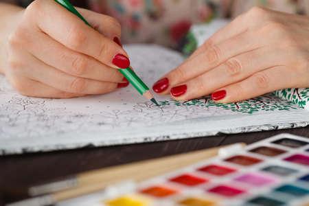 Adulto Coloración Tendencia Libro, Para Aliviar El Estrés. Vista ...