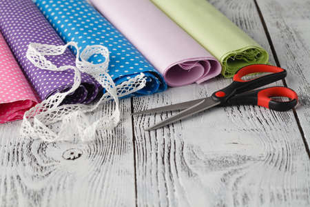 Home wousewife leisure concept. Cloth ready to sew Stock Photo