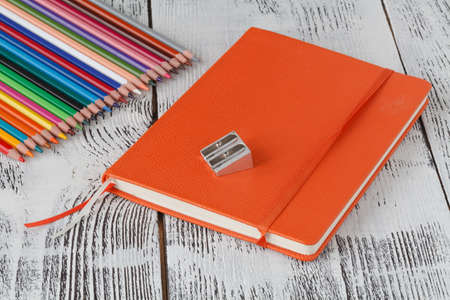 notepaper: notebook with pencil on table background copy space