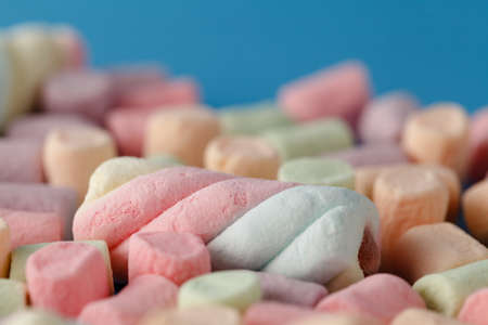 Marshmallows, Colorful twisted marshmallows, Closed up of Marshmallows, marshmallows texture and pattern. Soft focus Stock Photo