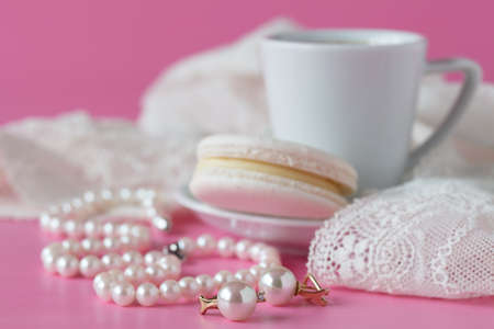 bathroom counter with coffee, vintage pearls jewelry