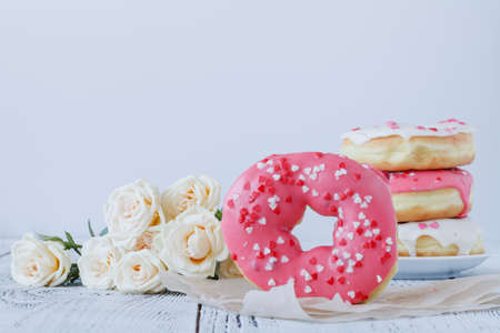 Lovely morning surprise donut and coffee and rose