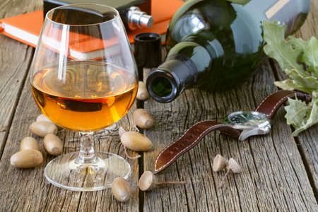 snifter: Snifter of brandy and dried oak leaves on a wooden table Stock Photo