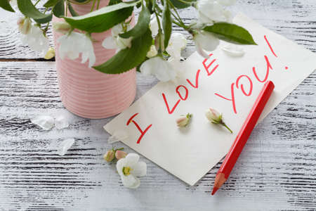 Spring blossom and notepad with words I love youIMG_4126.CR2