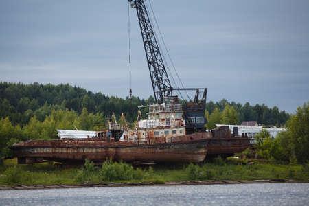 trawler: Rusty trawler wreck Stock Photo