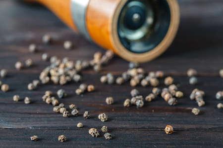 spice: Pepper grinder on dark background