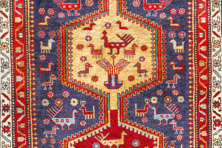 The traditional patterns on Georgian rug Stock Photo