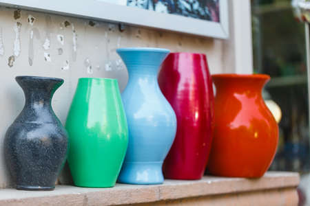 Porcelain vases as deco? on street shop Stock Photo - 84661151