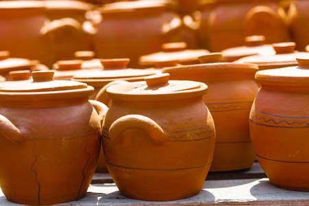 Clay pots from local pottery market Stock Photo