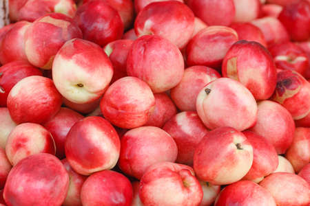 bright nectarines in the market Stock Photo