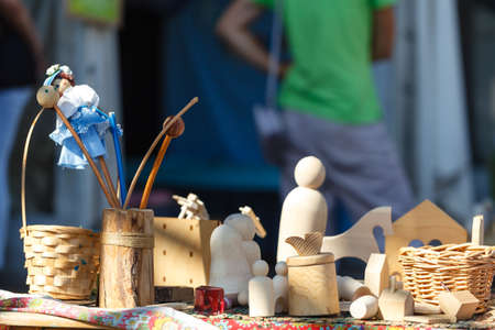 wooden toys on wooden table. Colorful toys made from wood