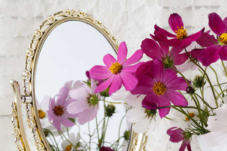 woman mirror: Wedding decor: pink and white flowers, vase, mirror Stock Photo