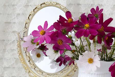 Wedding Decor Pink And White Flowers Vase Mirror Stock Photo
