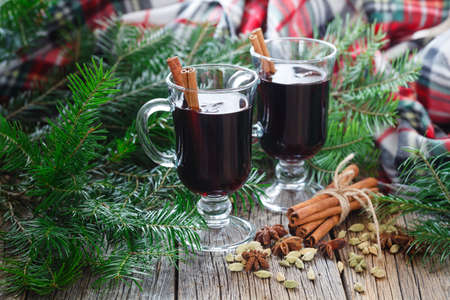 Hot christmas alcohol drink mulled wine Stock Photo