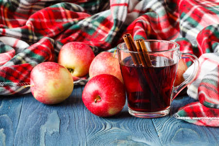 Cozy fall hot drink, mulled wine Stock Photo
