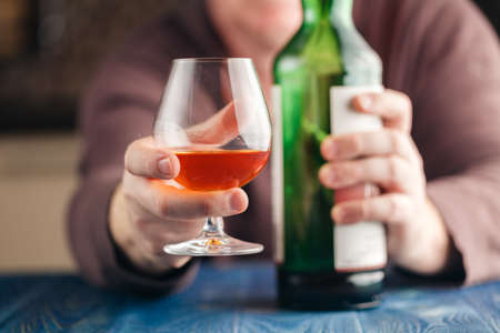 Man drinking malt whisky in relax time Stock Photo