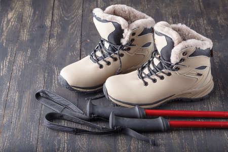A pair of weather proof snow boots Stock Photo