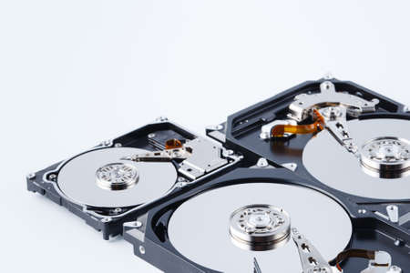 Close up view of open broken computer hard drive for repair