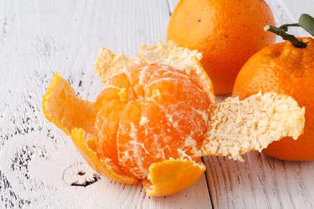 Ripe mandarine citrus . tangerine mandarine orange on wooden background Stock Photo