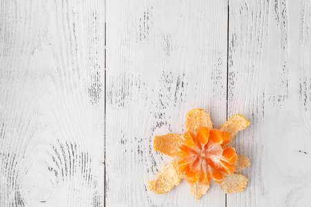 Mandarins on the white table Stockfoto