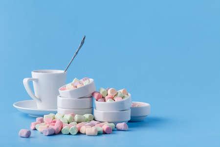 Pastel colour small marshmallow in white bowl
