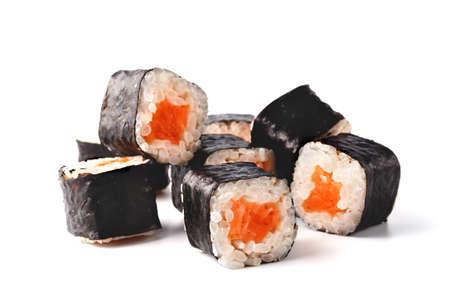 Japan sushi rolls isolated on white background Stock Photo