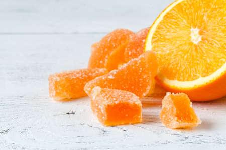 Orange marmelade jelly close up view Stock Photo