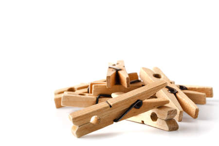 Wooden clothes pegs for clothes drying 스톡 콘텐츠