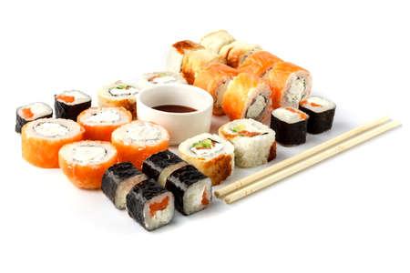 Set of sushi roll close up isolate on white Stock Photo