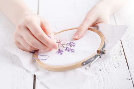 Embroidery and cross stitch accessories. Stock Photo