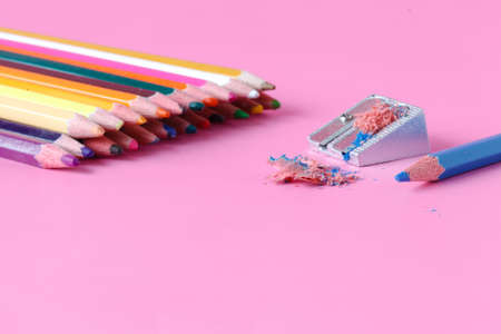 Pencil sharpener with color pencils Stock Photo