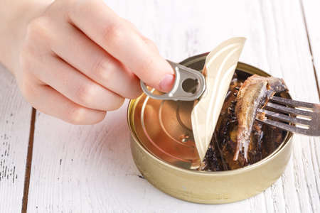 Fish sprats canned food in oil in a tincan