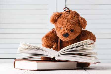 Children learning, teddy and books