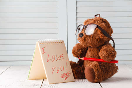 Valentines day, Teddy bear say i love you Фото со стока