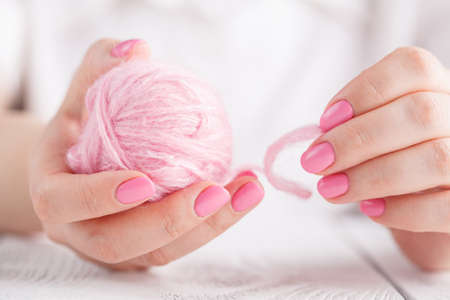 Color yarn for knitting in hands