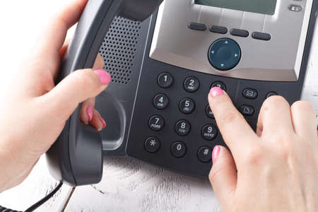 Telephone dialing ,contact and customer service concept . Selected focus Stock Photo
