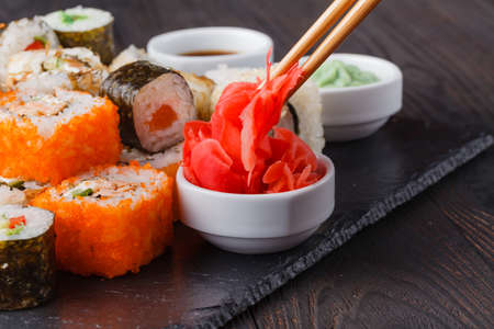 Delicious Peace of Sushi Rolls in Stick. Fresh Food Portion