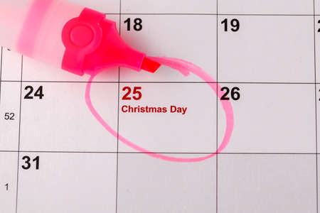 Mark the Date calendar for Christmas, December 25 Stock Photo