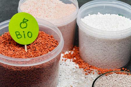 Mineral fertilizers granules in glass jar