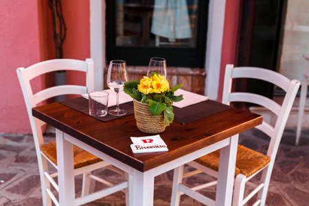Reserved table in the restaurant, outdoor