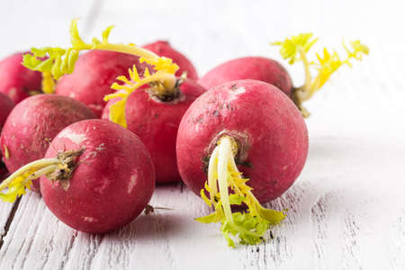 Close-up of ugly but natural fresh radishes